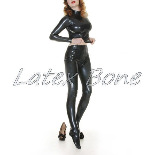Latex Sexy Costume Free shipping shiny glossy rubber latex tightly pantyhose latex leggings with long sleeves
