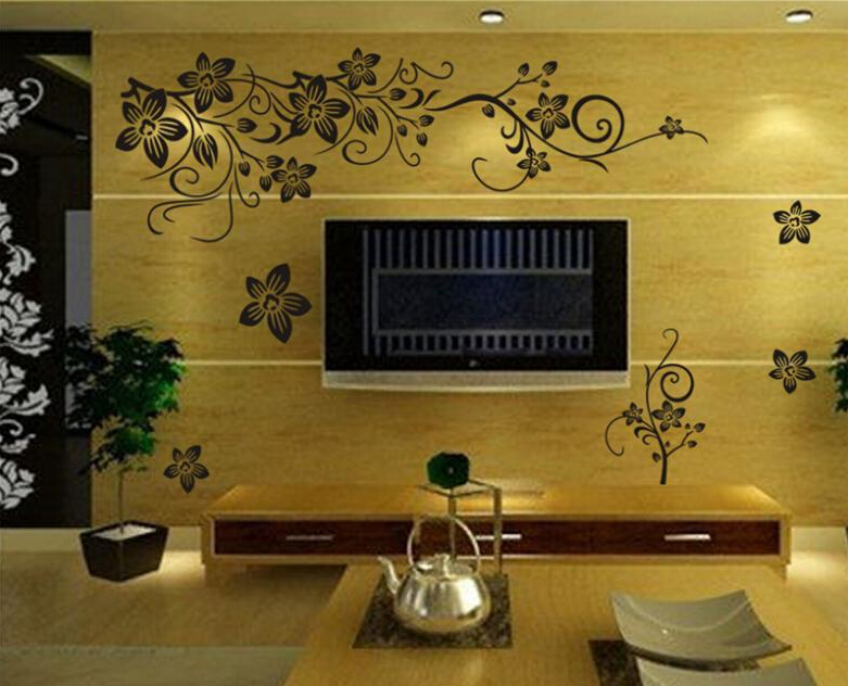 Hot Vine Wall Stickers Flower Wall Decal Removable Art PVC Home ...