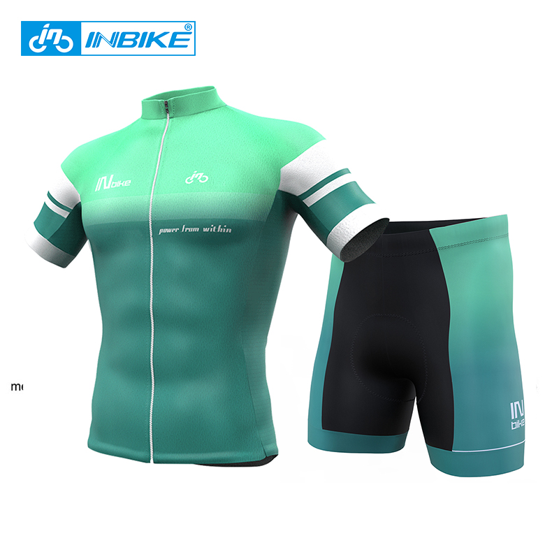 INBIKE Men's Short Sleeve Cycling Jersey Set Gel Pad Breathable Cycling Clothing Summer MTB Bike bicicleta ropa ciclismo shoot action camera accessories set for gopro hero 5 6 3 4 xiaomi yi 4k sjcam sj4000 h9 chest strap base mount go pro helmet kit