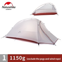 NatureHike Outdoor 1 Man Single Person Ultralight Camping Tent Cloud Up 1 20D nylon silicone