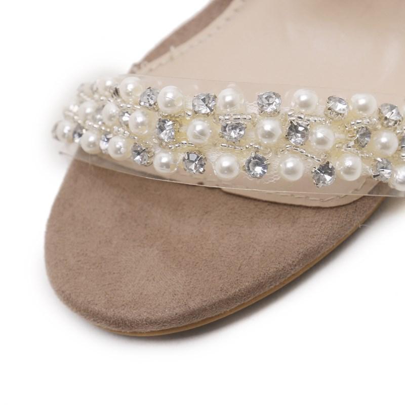 Nail Ins Transparent Carré Film Beige Cristal Lacets Chaude Talons Boucle Haute Zapatos Femmes Mujer Pvc Chaussures Bloc Sandales Perles Mode À rwvPyXq6r