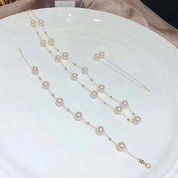 Sinya Trendy 18k AU750 gold necklace bracelet earring jewelry set Natural pearls star family design for women Mom lover girls