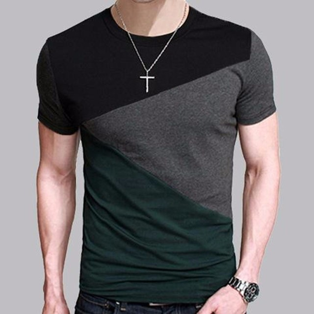 Fashion T shirt  Men V Neck Patchwork Shirts Elegant  Simple style Tees Playera  M-5XL
