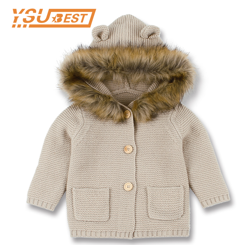 Baby Sweater Baby Girls Cardigan With Ears Newborn Boys Knitted Jackets With Hood Spring Kids Jacket Hooded Coat Girls Sweaters