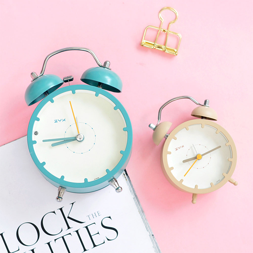 Students Simple Mute Alarm Clock Nordic Wind Creative Metal Alarm Table Dormitory Bedroom Bedside Luminous Desk Clock