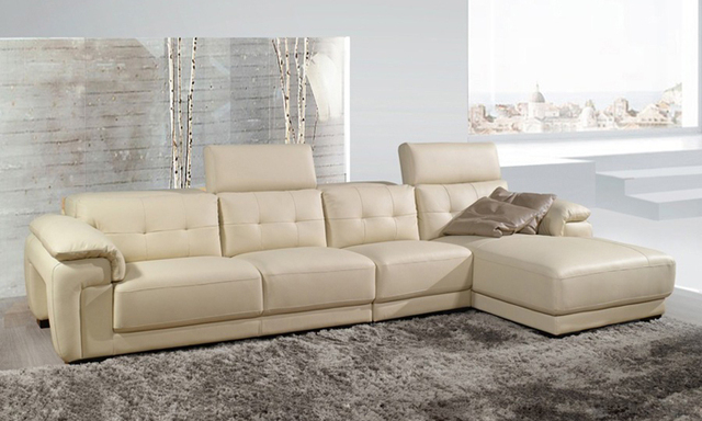Free Shipping Sectional Sofa 2017 Latest Modern Design L Shaped Genuine Leather Corner