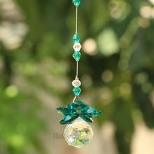 Zielona kryształowa kula Suncatcher Feng Shui pryzmaty wisiorek wahadło wiszące wystrój okna 20mm tanie tanio Kryształowy żyrandol 50mm M3558 hierkryst Crystal