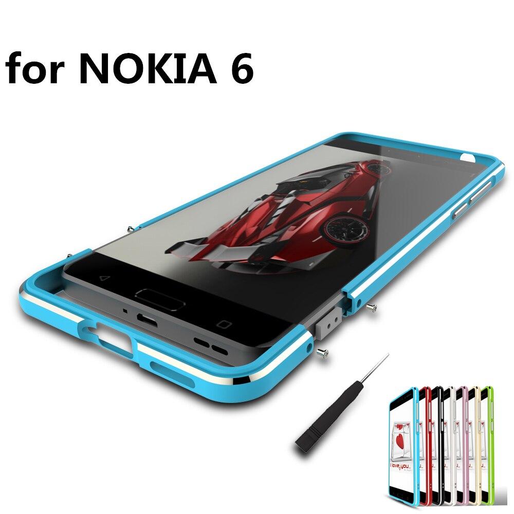 bilder für Luxus Deluxe Ultradünne Stoßfeste Schutzhülle aluminiumstoßdämpfer für Nokia 6 TA-1000 TA-1003 + 2 Film (1 Front + 1 Hinten)