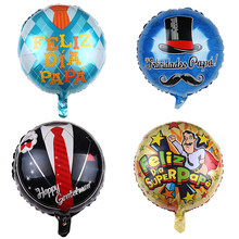 Helium Globos father mother Party Decoration1pc Feliz Dia Super Papa Foil Balloons Happy Father's Day(China)