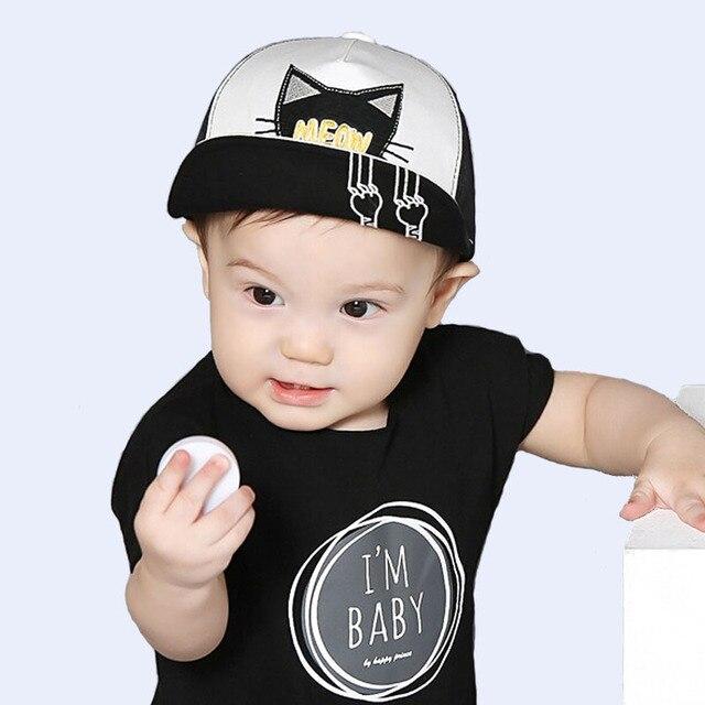 95ffb6277c9 Spring Summer Baby Hat Kids Cute Cat Baseball Cap Palm Baby Boys Girls  Beanies Cotton Mesh Caps Infant Unisex Visors Sun Hat