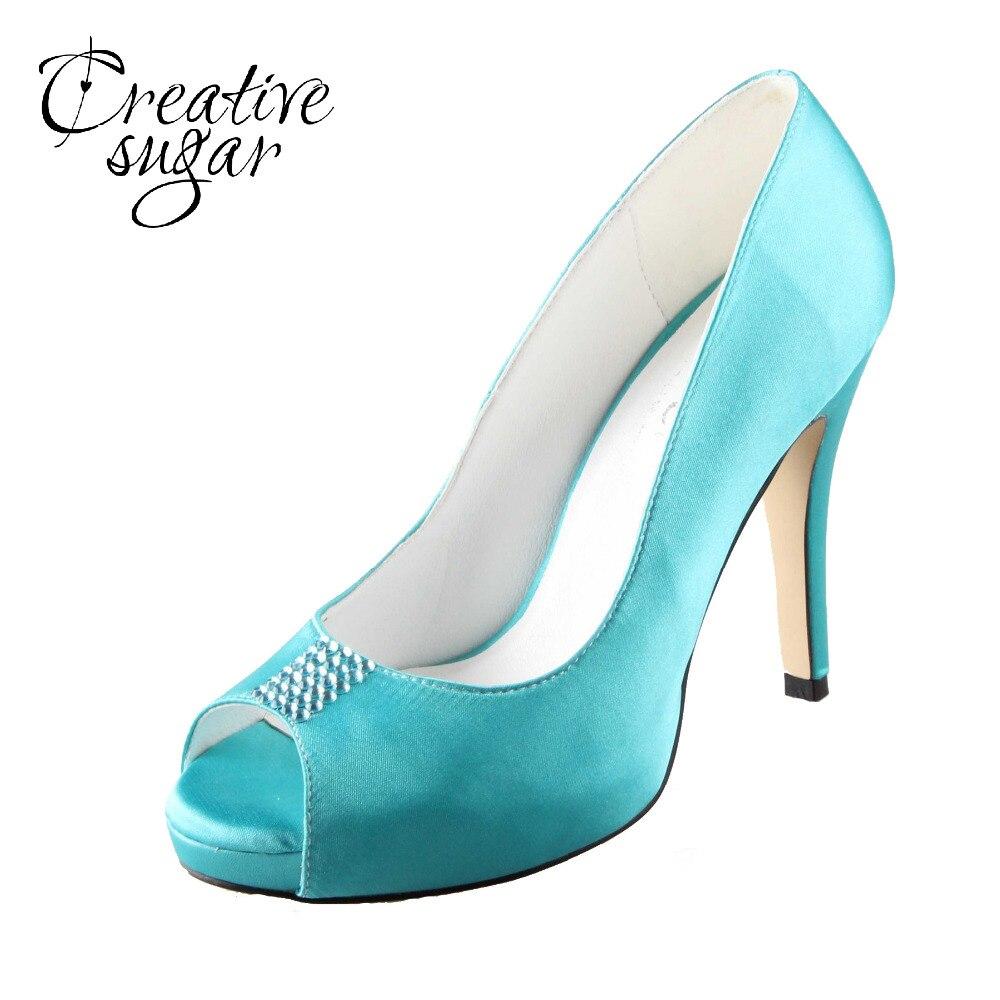 Creativesugar Handmade aqua blue turquoise wedding shoes rhinestone open toe woman bridal party prom evening dress high heels