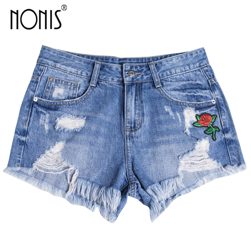 Nonis Denim Shorts Embroidery Curling Short Jeans Summer Ripped Womens Cotton Straight Shorts Flower Pantalones Cortos Mujer womens ripped jeans with embroidery summer 2017 ladies straight cotton denim casual pants pantalones vaqueros mujer garemay 2610