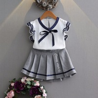 Girl clothing sets school uniforms for girls butterfly sleeve Pleat blouse pleated skirt childrens clothing 4years girls clothes