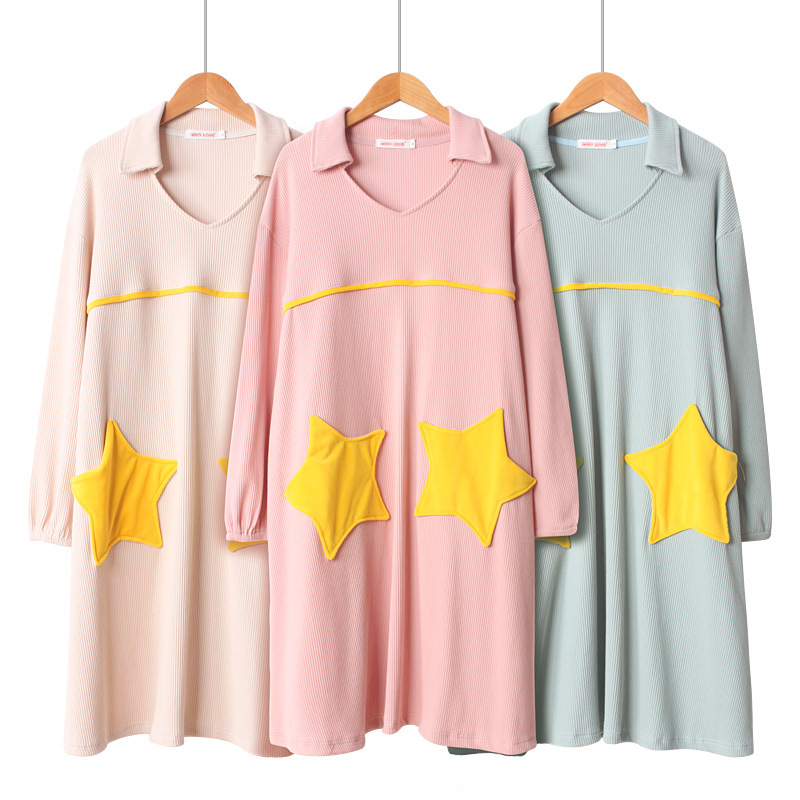 Womens   Nightgown   Sleepwear Spring Cotton Long   Sleepshirts   Long-sleeved Star Night Gown Plus Size Women Home Lingerie Nightwear