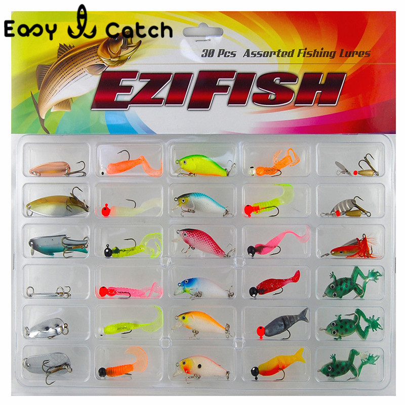 30pcs/set Hard Metal Soft Jig Fishing Lures Set Sea Worm Fish Frog Fishing Spoon Spinner Bait Jig Head Fishing Spoon Lure Hooks