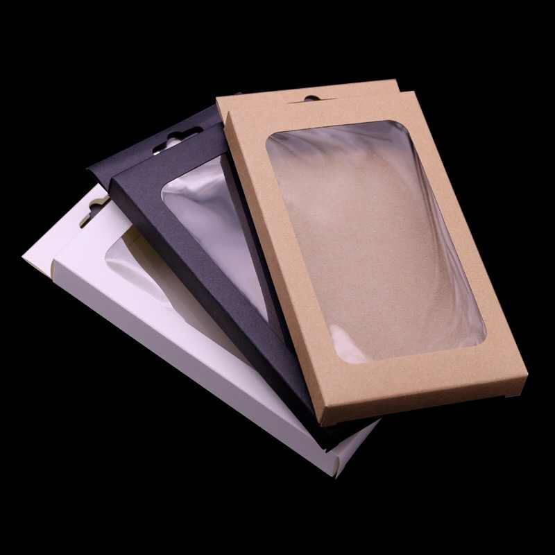 4 sizes Black kraft paper box with pvc window for mobile phone case,retail phone case packaging box, universal phone box