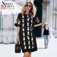2017 European Style Women Black Mesh Dress Short Sleeve O Neck Flowers Embroidery Straight Ladies Casual