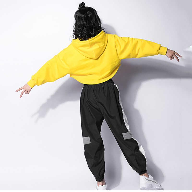 Jazz Dance Costumes Hip Hop Kids Long Sleeve Hooded Top Vest Pants Girls Hiphop Clothes Street Dance Stage Show Wear DNV10416