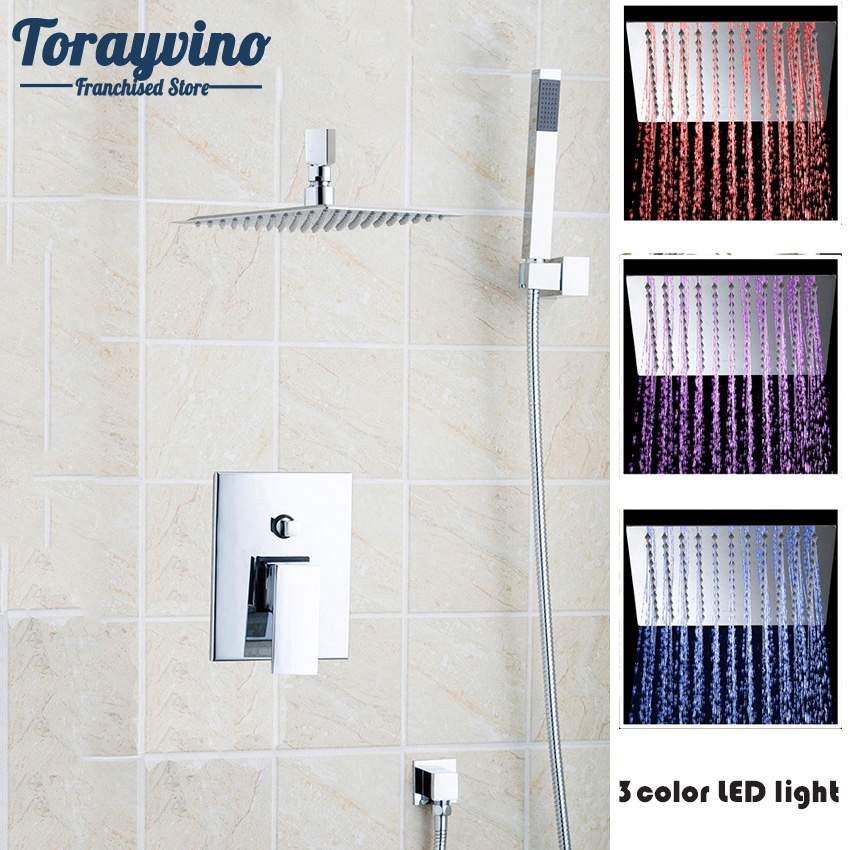 Torayvino LED Superior Quality Bathroom Faucet Chrome Polished Wall Mounted Ceramic Hot Cold Water Eminent Shower Faucet china sanitary ware chrome wall mount thermostatic water tap water saver thermostatic shower faucet
