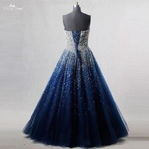 Image 3 - RSE197 Yiaibridal elegante Bling adorno con cuentas de plata Read To Ship vestido en existencias largo azul real vestido de Graduación