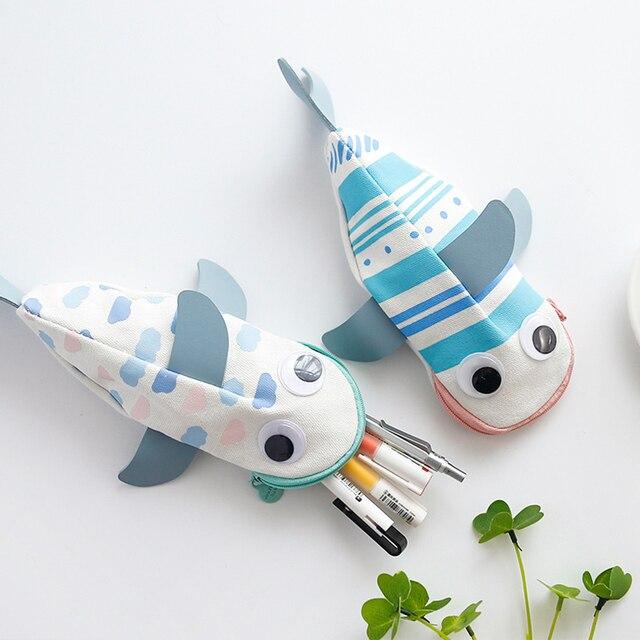 Kid's Cartoon Fish Shaped Pencil Case 2