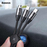Baseus 3 in 1 USB Cable For iPhone Micro USB Type C Cable For Android Mobile Phone Magnetic Lighting Charger Cable USBC Microusb
