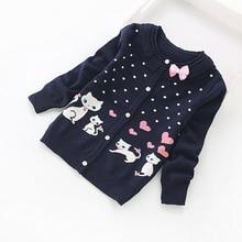 Новые детские кардиганы, милые хлопковые свитера для девочек, Модный хлопковый кардиган для 3-16 лет, 8518