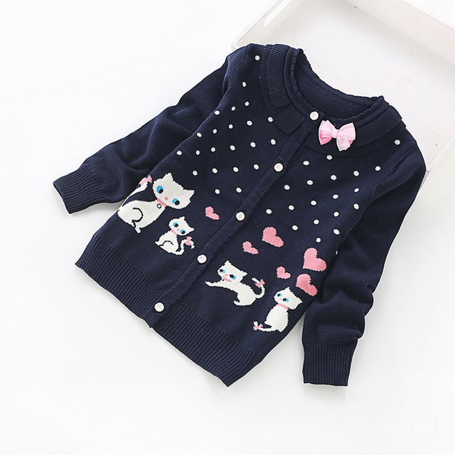 2016 new children cardigans girls lovely cotton sweaters 3 16 years fashion cotton cardigan 8518