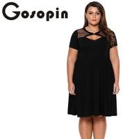 Gosopin Plus Rozmiar Letnia Sukienka Kobiety Party Dress Hollow Out Dot Krótki Skater Sukienki Wzburzyć Czarny 4xl Vestidos Nowy LC61979
