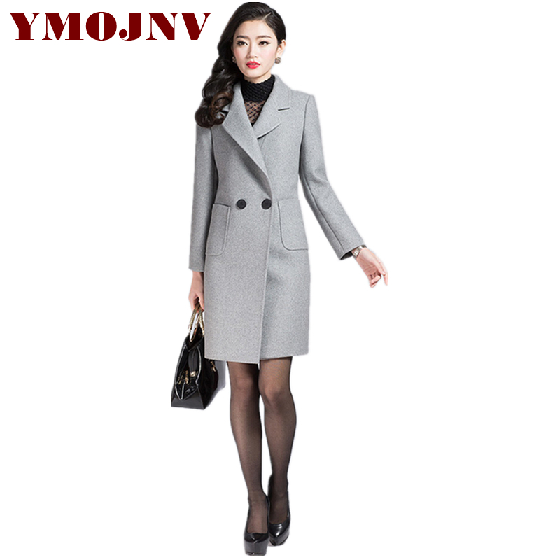 YMOJNV New Wool Coat Gray Double-breasted Suit-collar Winter Jacket ladies coats Oversized Long Womens Wool Coats manteau femme mens winter down jackets coats piumino peuterey wool collar double breasted jacket lapel pocket vertical multi pocket jacket