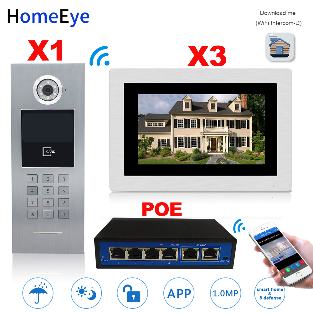 HomeEye 7'' 720P WiFi IP Video Door Phone Video Intercom Home Access Control System Password/RFID Card + POE Switch Touch Screen