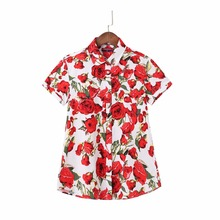 Dioufond Plus Size Floral Women Blouse Summer Turn-Down Collar Short Sleeve