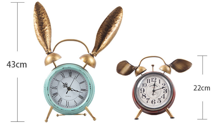 Decorative Retro Table Desktop Clocks Living Room Bedroom Rabbit Ears Vintage Alarm Cloc ...