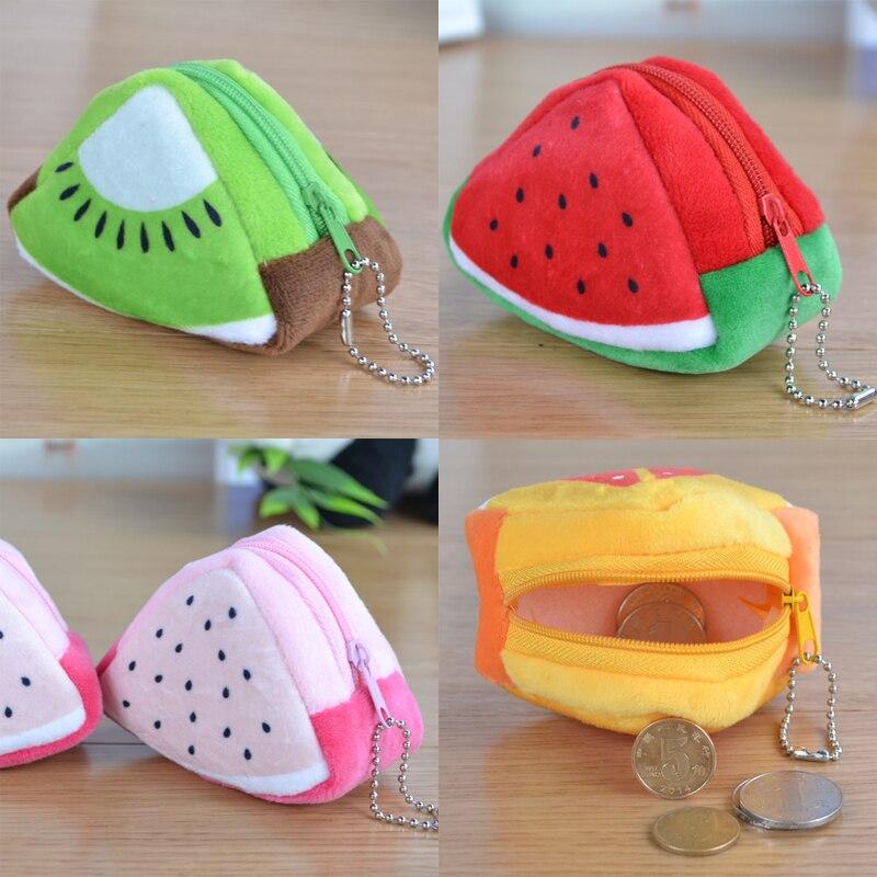 2017 Creative Plush 3D Triangle Fruit Coin Purse Cute Watermelon Oranges Coins Key Bags Kids girls card holder dollar purses blood oranges
