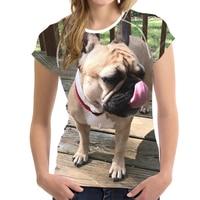 FORUDESIGNS Groothandel Hond Print T-shirt Leuke Franse bulldog Tee Shirts voor Vrouwen Meisjes T-shirts Slim Korte Mouw Elastische Tees