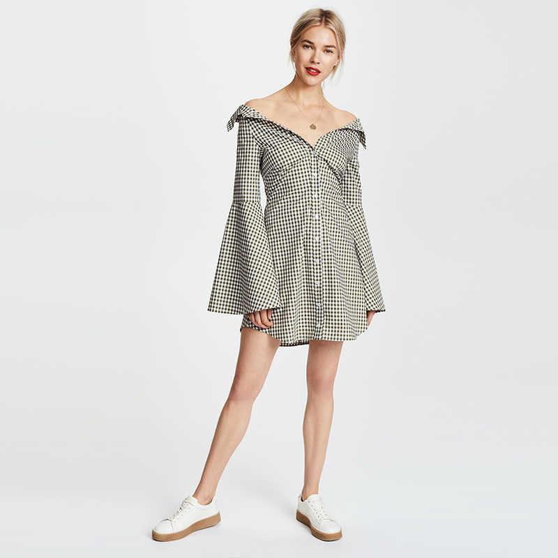 HDY Haoduoyi женское мини-платье-рубашка с отложным воротником и длинными расклешенными рукавами, с высокой талией, в клетку, однобортное для женщин