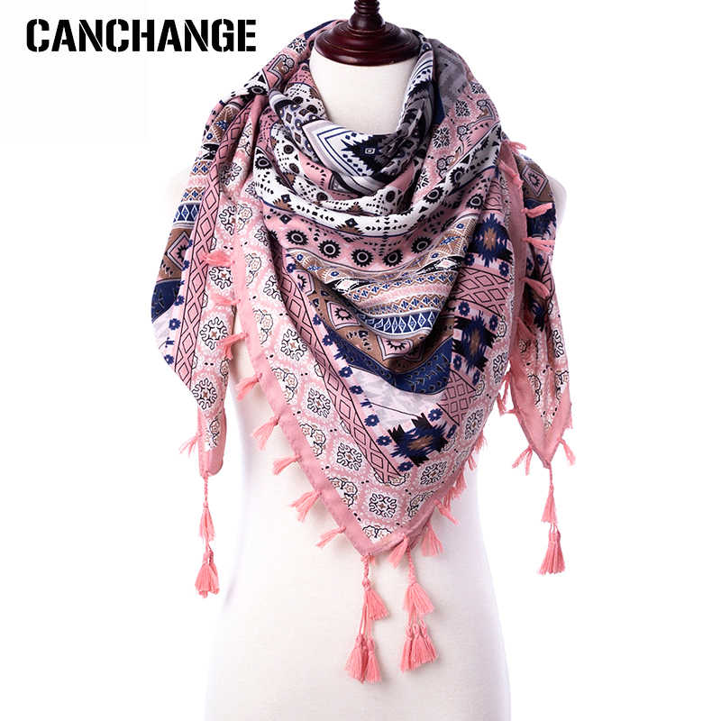 Fashion Scarf Women Large Shawls Floral Print Stoles Triangle Bandana Luxury Brand Kerchief Scarves Female Foulard