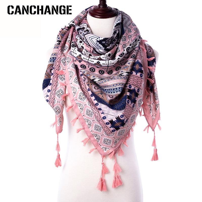 Fashion Scarf Women Large Shawls Floral Print Stoles Triangle Bandana Luxury Brand Kerchief Scarves Female Foulard(China)