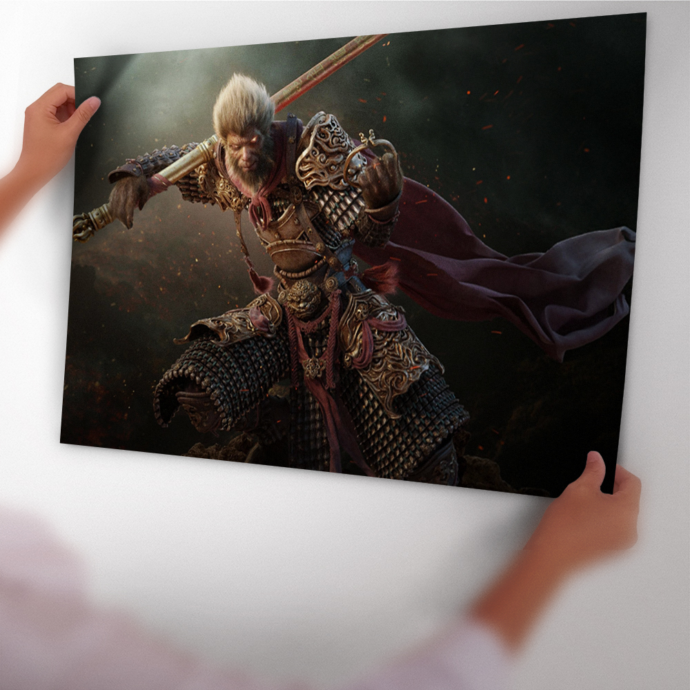 12d811e93 Monkey King Wukong Warrior Fantasy Art Poster Sticker Art Poster Print Wall  Art Canvas Painting With Film Wall Sticker