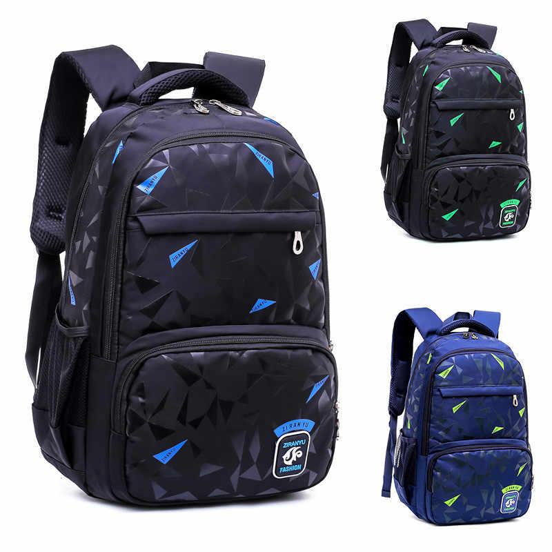 Nueva gran capacidad impresión geométrica bolso de escuela de muchachos chico mochila doble cremallera mochilas de los niños de la escuela bolsas al por mayor