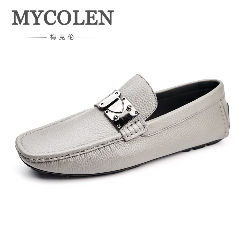 MYCOLEN New Men's Genuine Leather Shoes Fashion Casual Men Shoes Slip On Men Loafers Breathable Male Shoes Mocasines Hombre mycolen men loafers slip on casual shoes crocodile skin leather shoes men flats shoes male genuine leather breathable chaussure