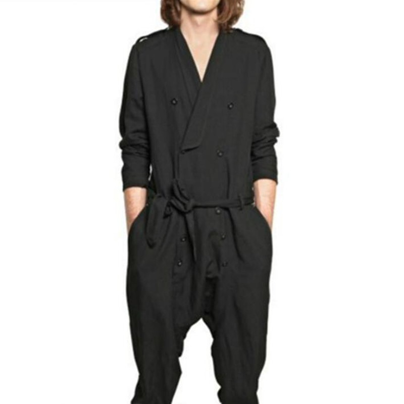 Jumpsuit Men Rompers One Piece Overalls Cotton Mens Fashion Runway Designer Casual Double Breasted Spring Autumn Outfit Clothes