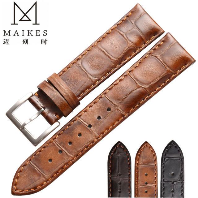 MAIKES HQ 18 19 20 22 mm bracelets de montre en cuir véritable Bracelet accessoires Bracelet de montre marron montres Bracelet pour Longines