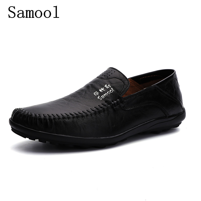 Fashion Mens Genuine Leather Shoes Men Flats Shoes Casual Loafers Fashion Moccasins Slip On Mens Driving Shoes Big Size 35-47 2017 ohwhat s ladies shoes woman solid pointed toe leather winter womens booties zapatos mujer botas high heel boots