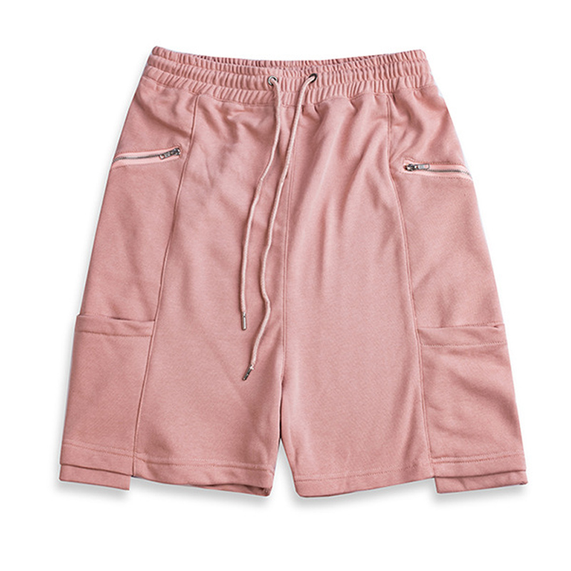 Hip Hop Multi Pocket Zipper Shorts Men Cotton Solid Color Short Sweatpants 2018 Summer Streetwear Elastic Waist White Pink W0302 ...