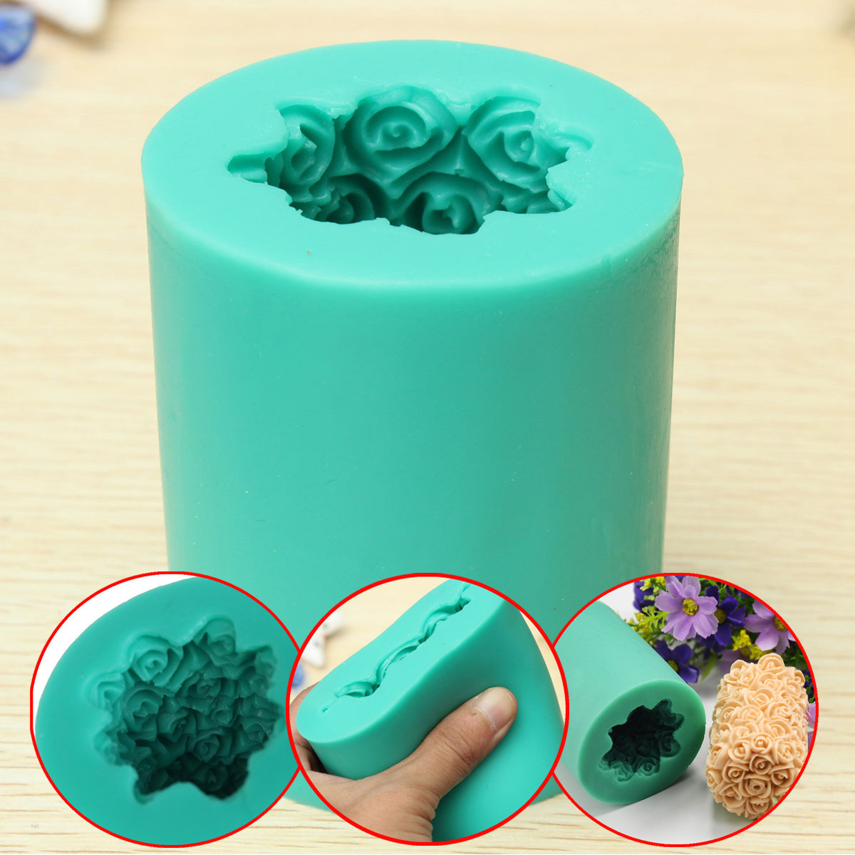 3D DIY Candle Mold Silicone Rose Flower Candle Soap Making Mould Mold Cylinder Wedding 7x4.5cm