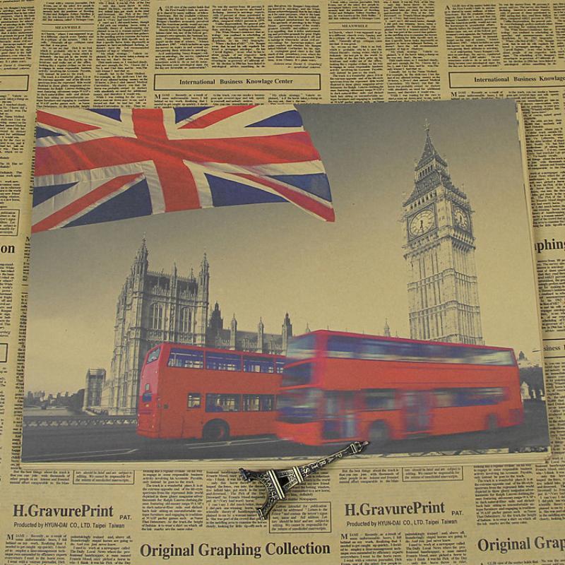 JX-085 About England famous building big ben vintage poster Retro Kraft paper wall art craft sticker home decorative for bar pub
