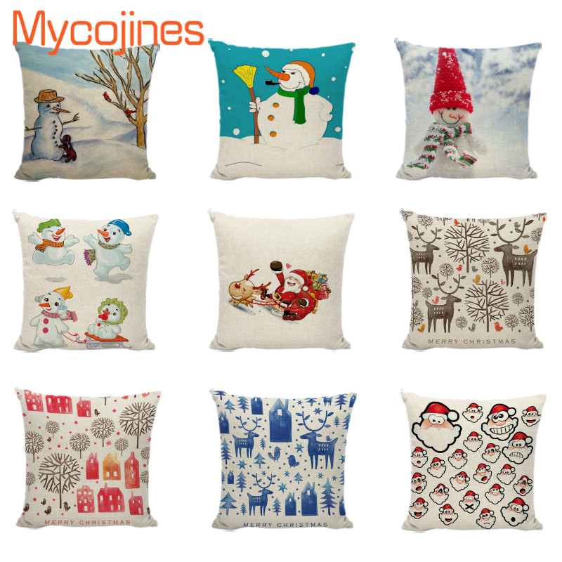 Enjoyable Us 2 96 19 Off Snowman Cushion Cover Merry Christmas Cojines Decorativos Para Sofa Santa Avatar Deer Tree Couch Pillows Farmhouse Pillowcase In Inzonedesignstudio Interior Chair Design Inzonedesignstudiocom