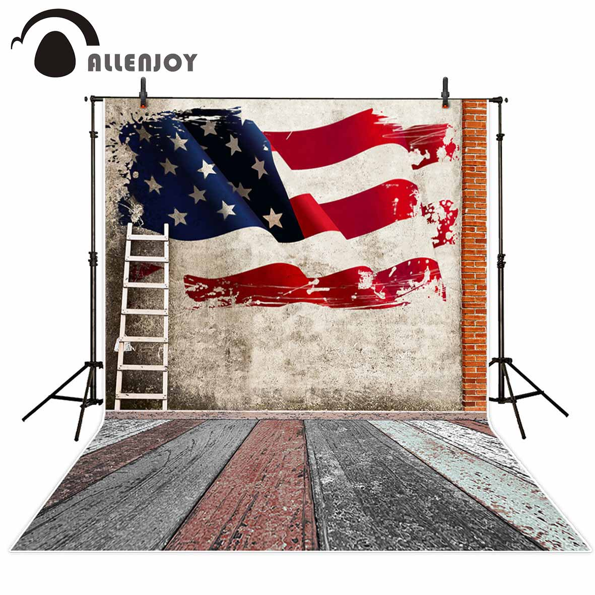 Allenjoy vinyl photography backdrop Ladders American flags old Vintage wall new background photocall customize photo printed