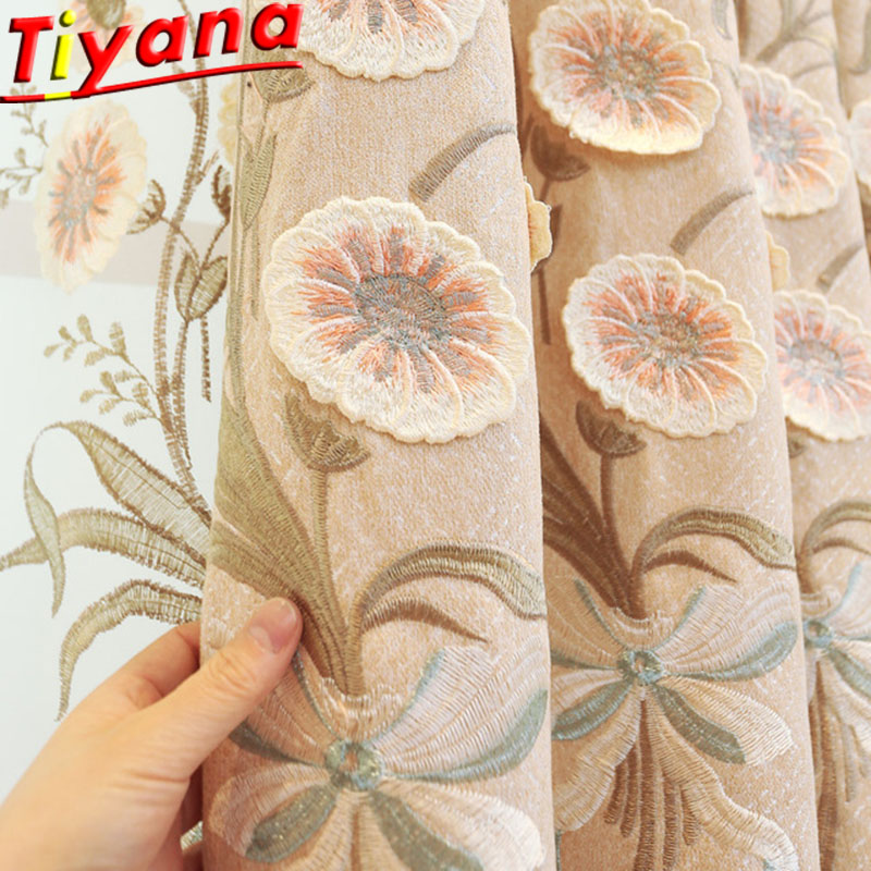 Chinese flower Embroidery Curtain Luxury Tulle for Living Room  Bedroom Window Hotel Screen Curtain cloth and Voile X-HM005*40